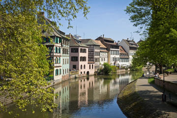 Water canal on Grand Ile island in center of Strasbourg, France