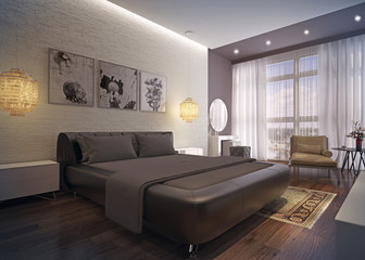 Modern bedroom interior.