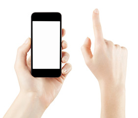 Smartphone and woman hand on white, clipping path