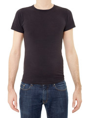 Black t-shirt on man on white, clipping path
