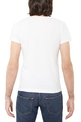 White t-shirt on man back on white, clipping path