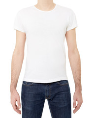 White t-shirt on man on white, clipping path