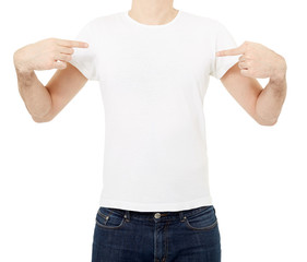 Man pointing at white t-shirt on white, clipping path