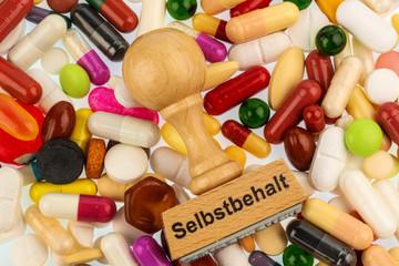 Stempel auf bunten Tabletten
