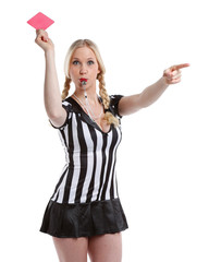 beautiful woman in soccer referee clothes