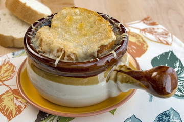 French onion soup with melted cheese