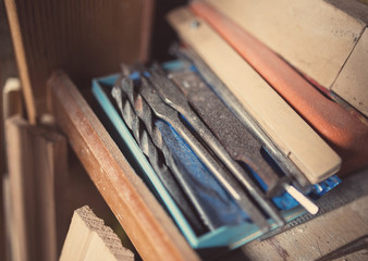 Old woodworking tools, retro tinted