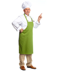 Chef inviting in restaurant.