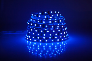 Blue glowing LED garland, strip