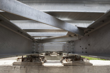 bottom view of steel bridge structure of railways use for infras