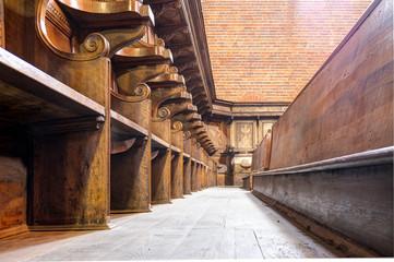 Abbazia di Morimondo wooden choir detail color image
