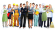 Leinwanddruck Bild - Group of workers people.