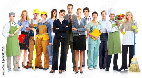 Leinwanddruck Bild Group of workers people.