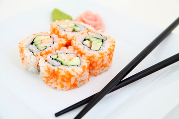 Uramaki. Traditional japanese sushi rolls