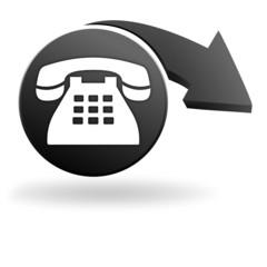 téléphone fixe sur symbole noir
