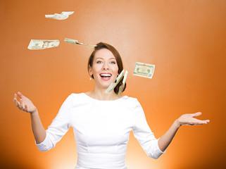 Woman throws up in air cash. Make it rain, lottery winner