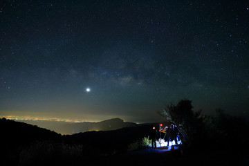 Landscape of Milky Way beautiful sky on Doi Inthanon Chiangmai