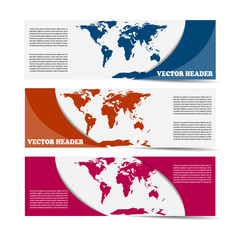 Set of vector banners with a map of the world