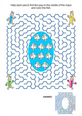 Maze game and coloring page - pencils and fish