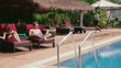 1of27 Young people relaxing in hotel swimming pool, gym, bar