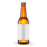 Glass Beer Brown Bottle With Label On White Background