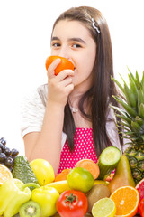 Little girl with fruits