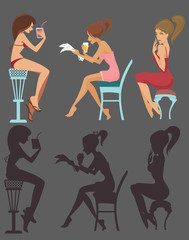 cartoon sitting and drinking girls, vector collection