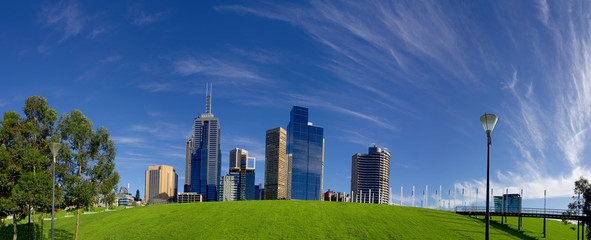 panorama of melbourne city with a nice cloudy blue sky