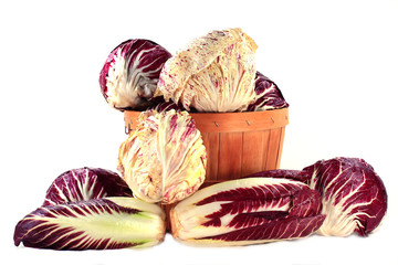 Different sorts Radicchio in bushel and on pile
