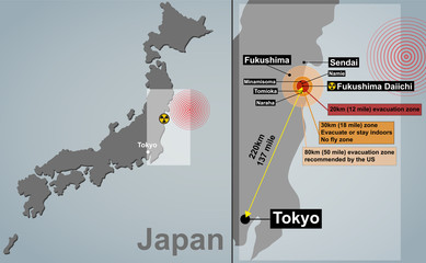 Detailed map of Japan with seismic epicenter