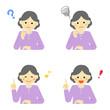 シニア女性 表情 / vector eps