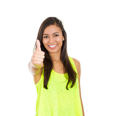 winner, happy young woman showing thumbs up white  background