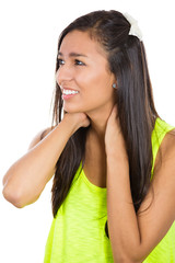 Headshot young woman with neck pain isolated white background