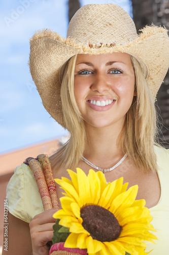 Beautiful Girl Woman Straw Hat & Sunflowers