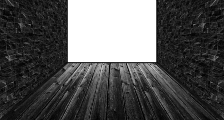 Empty dark room with 1 blank white wall