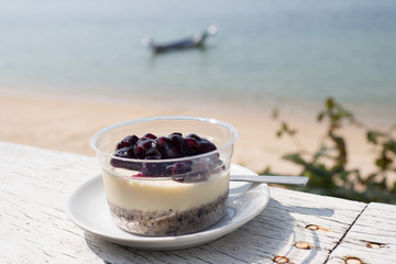 Blueberry cheese cake at beach restaurant