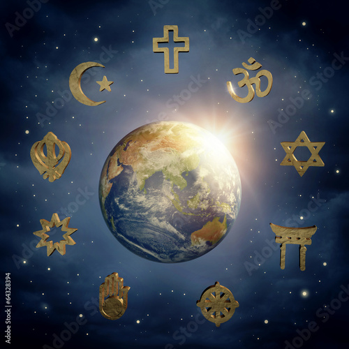 canvas print picture Earth and religious symbols