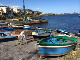 Acicastello,Sicily, fisherman's boats view