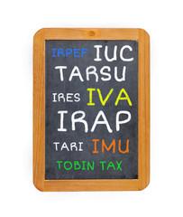 tasse e imposte italiane sulla lavagna
