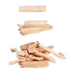 set wood shavings isolated on white background