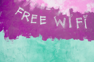 Free wifi sign on grunge purple background