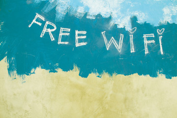 Free wifi sign on grunge vintage green background