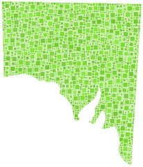 State of South Australia in a mosaic of green squares