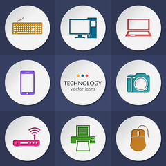 Vector collection of colorful flat technology.