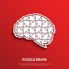 Vector human brain composed of a puzzle.