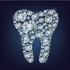 illustration of tooth made up a lot of diamonds