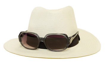 hat with sunglasses in white background