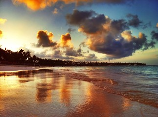Sunset over exotic beach in Punta Cana
