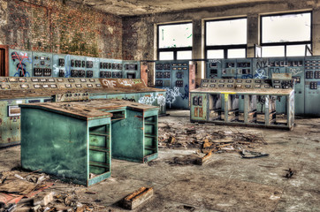 Control room of an abandoned factory
