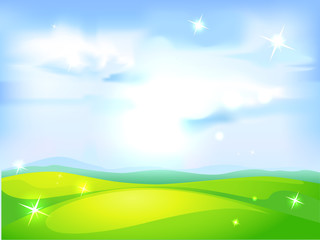 vector horizontal natural background with blue sky